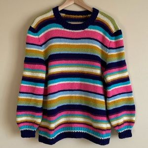 Hand-Knit Striped Sweater